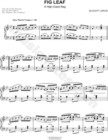 Fig Leaf Rag A High Class Rag Scott Joplin Piano Solo  music sheet