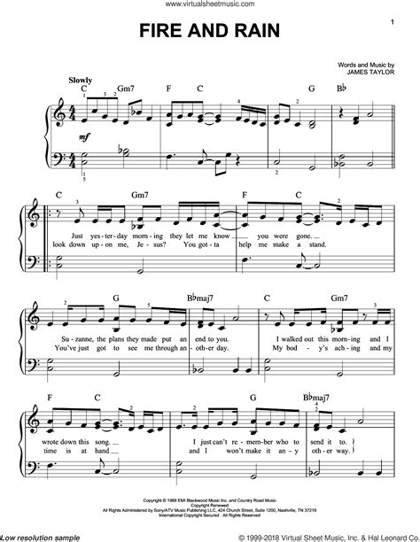 Fire And Rain James Taylor Piano Solo  music sheet