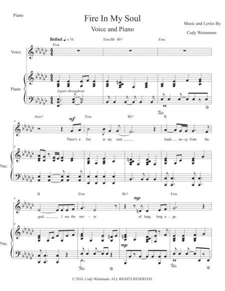 Fire In My Soul Treble Voice Piano  music sheet