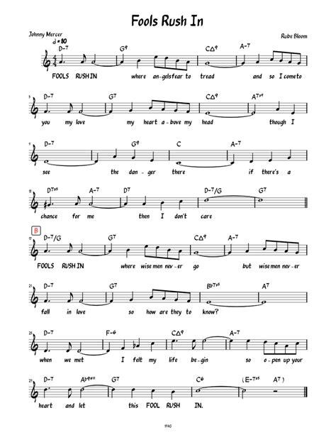fools rush in music sheet