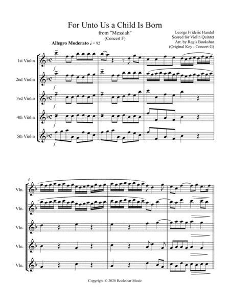 For Unto Us A Child Is Born From Messiah F Euphonium Quintet Bass Clef  music sheet