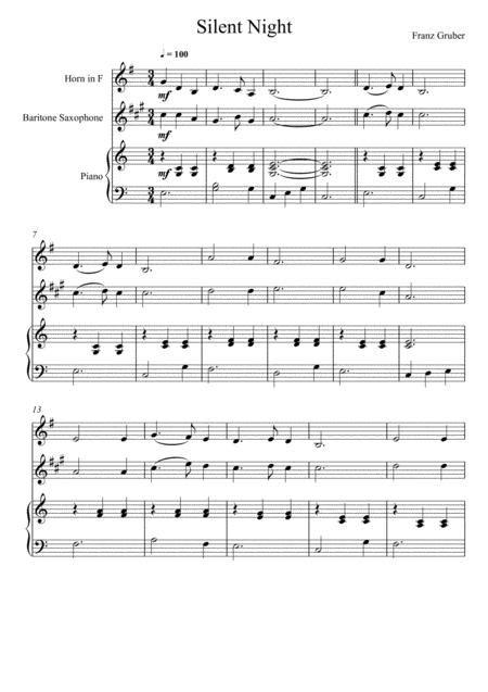 Franz Gruber Silent Night English Horn And Baritone Saxophone Duet  music sheet