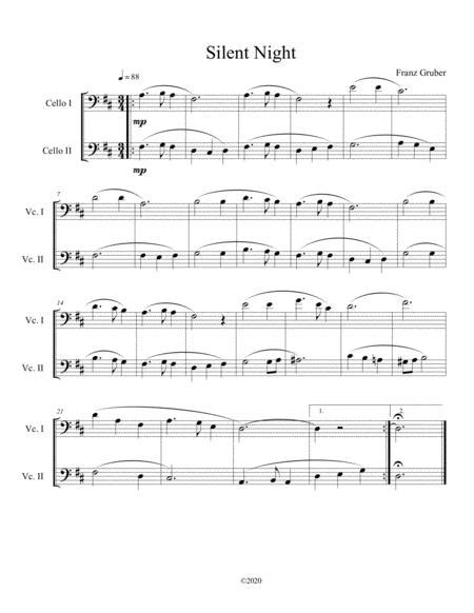 Franz Gruber Silent Night Violoncello And Tuba Duet  music sheet