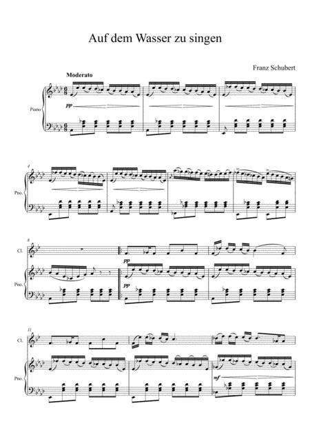 Franz Schubert Auf Dem Wasser Zu Singen Clarinet Solo  music sheet