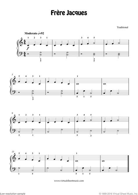 Frere Jacques 4 Hands 1 Piano  music sheet