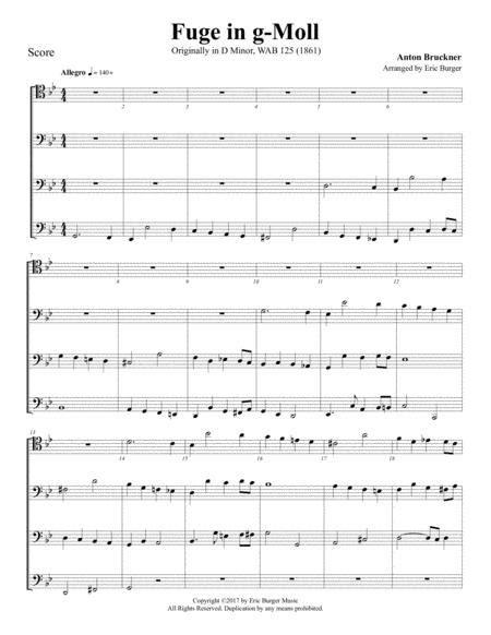 Fuge In G Moll For Trombone Or Low Brass Quartet  music sheet