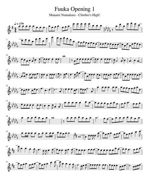 Fuuka Opening 1  music sheet