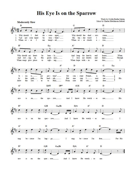 Gabriel His Eye Is On The Sparrow For Violin Piano  music sheet