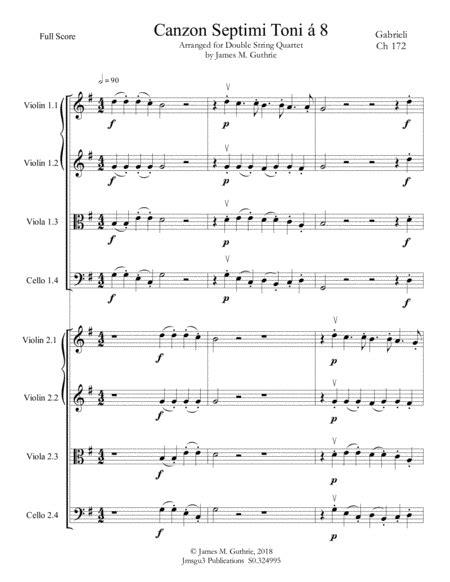Gabrieli Canzon Septimi Toni Ch 172 For Double String Quartet  music sheet
