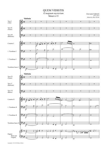 Gabrieli Quem Vidistis Motet  15 6 Male Voices And Instruments  music sheet
