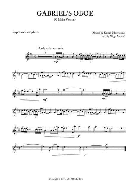 Gabriels Oboe Nella Fantasia For Saxophone Quartet  music sheet