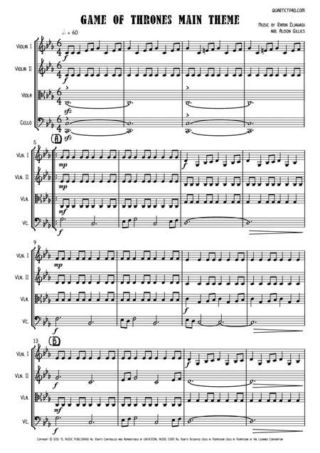 Game Of Thrones Sheet Music For String Quartet Score And Parts  music sheet