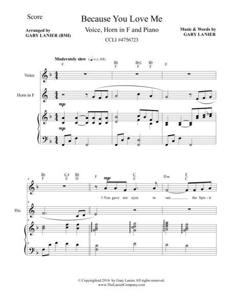 Gary Lanier Because You Love Me Worship For Voice Horn In F And Piano  music sheet