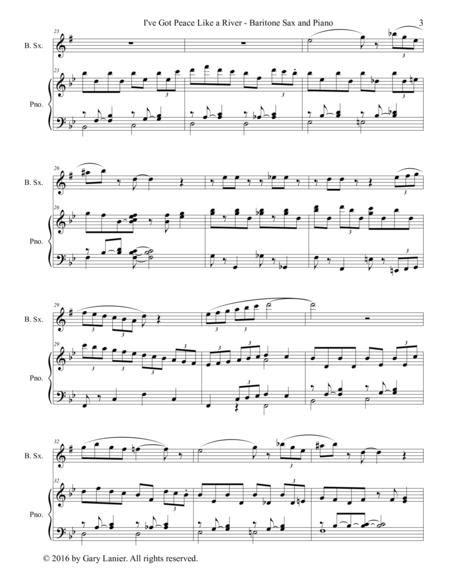 Gary Lanier I Ve Got Peace Like A River Duet Baritone Sax Piano With Parts  music sheet