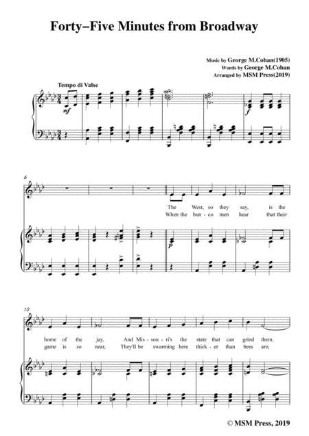 George M Cohan Forty Five Minutes From Broadway In A Major For Voice Piano  music sheet