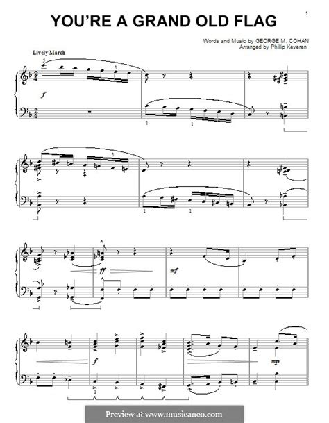 George M Cohan You Re A Grand Old Flag In A Flat Major For Voice Piano  music sheet