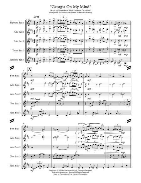 Georgia On My Mind For Saxophone Quartet Satb Or Aatb  music sheet