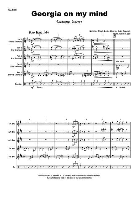 Georgia On My Mind Ray Charles Saxophone Quintet  music sheet