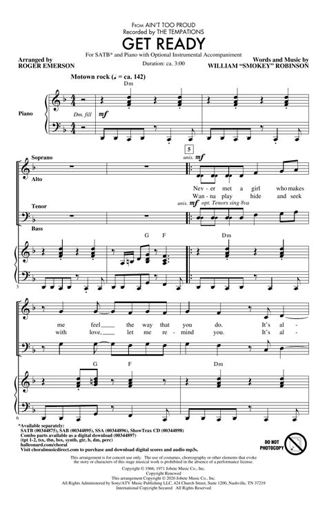 Get Ready From Aint Too Proud Arr Roger Emerson Bass  music sheet