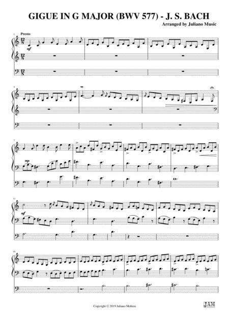 Gigue In G Major Bwv 577 Easy Organ C Version Js Bach  music sheet