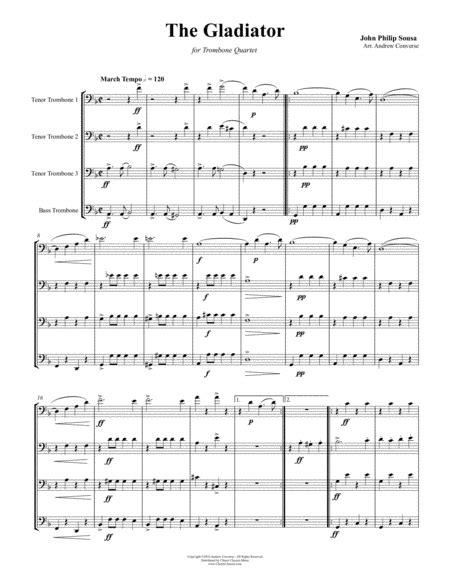 Gladiator March For Trombone Quartet  music sheet