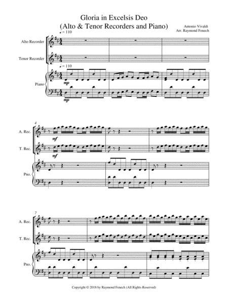 Gloria In Excelsis Deo Alto Tenor Recorders And Piano Advanced Intermediate Chamber Music  music sheet