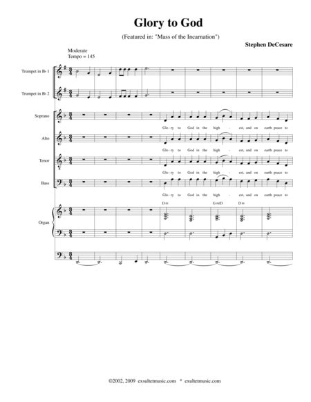Glory To God From Mass Of The Incarnation  music sheet