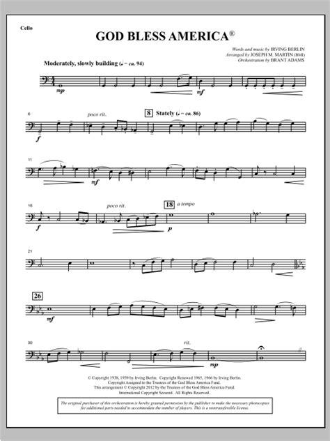 God Bless America Cello  music sheet