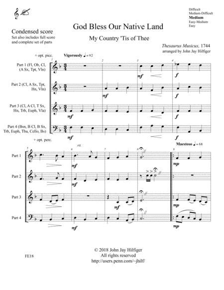 God Bless Our Native Land My Country Tis Of Thee For Brass Quartet Ensemble  music sheet