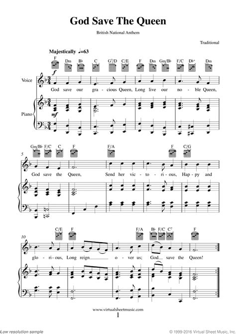 God Save The Queen British National Anthem  music sheet