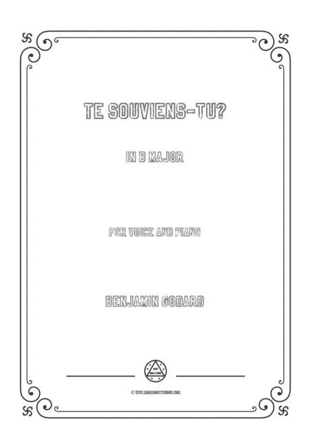 Godard Te Souviens Tu In D Flat Major For Voice And Piano  music sheet