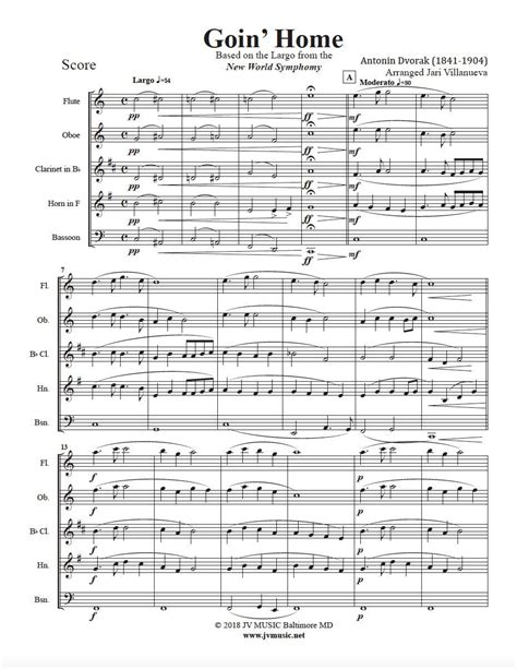 goin home for woodwind trio music sheet