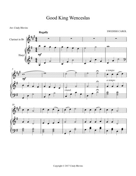 Good King Wenceslas Arranged For Lever Or Pedal Harp From My Book Winterscape  music sheet