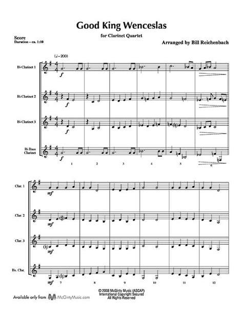 Good King Wenceslas Jazzy Style For Clarinet Quartet  music sheet