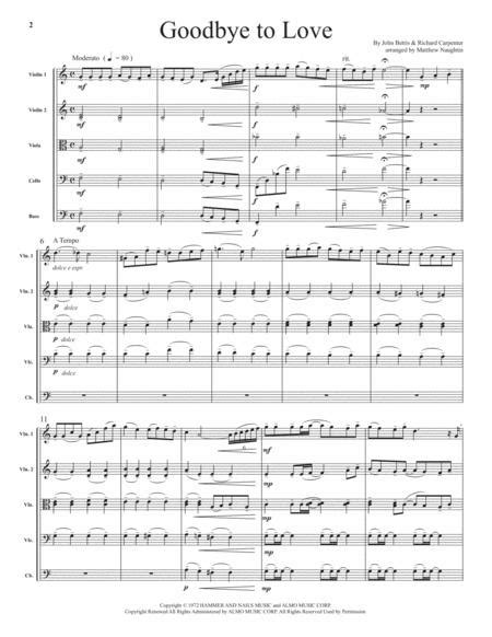 Goodbye To Love For String Orchestra  music sheet