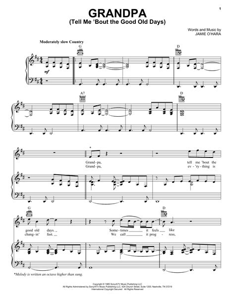 grandpa tell me bout the good old days music sheet