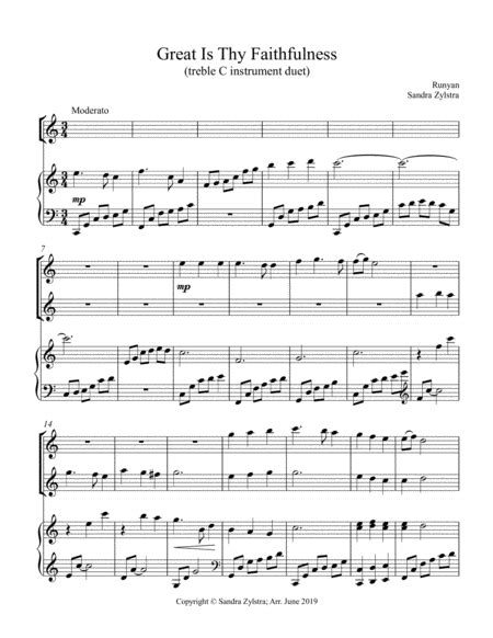 Great Is Thy Faithfulness Duet For C Instruments  music sheet