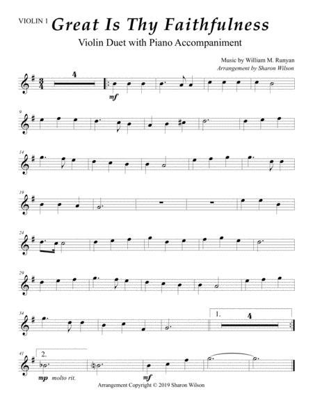 Great Is Thy Faithfulness Easy Violin Duet With Piano Accompaniment  music sheet
