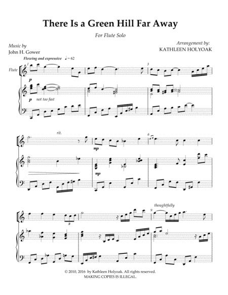 Green Hill An Arrangement Of There Is A Green Hill Far Away For Unison 2 Or 4 Part Voices  music sheet