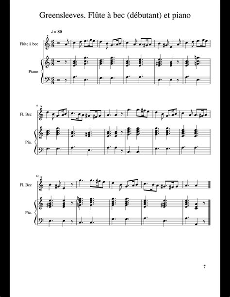 Greensleeves For Flute Choir And Piano  music sheet