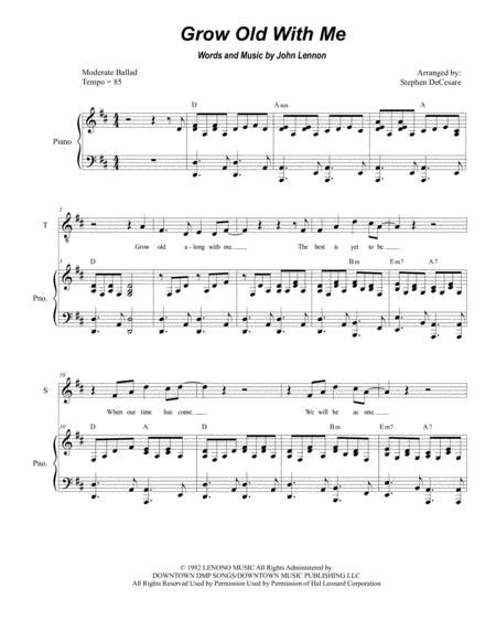 Grow Old With Me Duet For Tenor And Bass Solo  music sheet