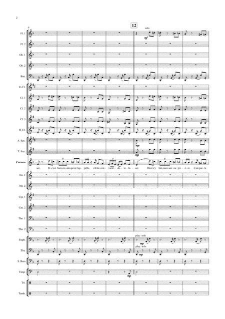 Habanera From Carmen G Bizet For Soprano And Concert Band  music sheet
