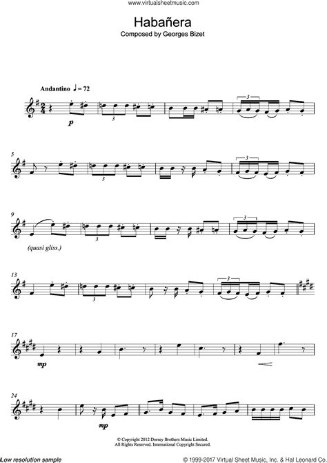 Habanera Georges Bizet For Alto Saxophone Piano  music sheet