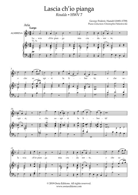 Haendel Lascia Ch Io Pianga Aria From Rinaldo Hwv 7  music sheet