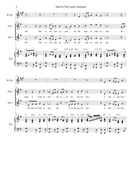 Hail To The Lords Anointed For 2 Part Choir Sa  music sheet