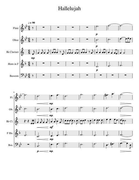 Hallelujah Arranged For Flute Oboe And Clarinet  music sheet