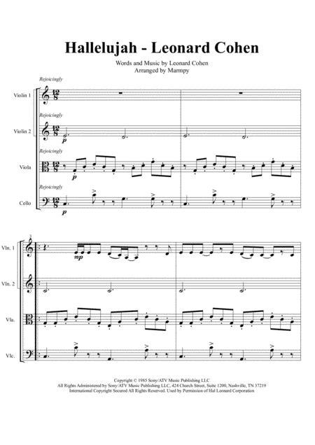 Hallelujah By Leonard Cohen Arranged For String Quartet  music sheet