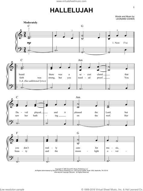 Hallelujah Easy Piano Version In C  music sheet
