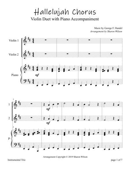 Hallelujah From Handels Messiah Easy Violin Duet With Piano Accompaniment  music sheet