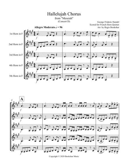 Hallelujah From Messiah Bb French Horn Quintet  music sheet